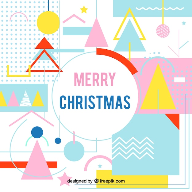 Colourful christmas background in memphis style