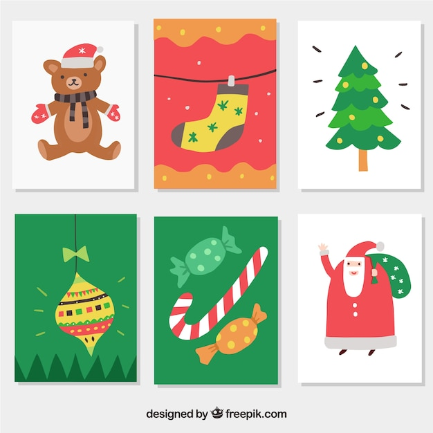 Colourful christmas postcards Free Vector