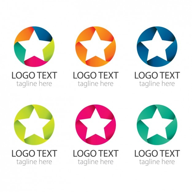 colourful circles with stars logos pack vector free download
