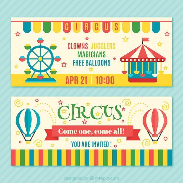 Colourful circus tickets pack Free Vector