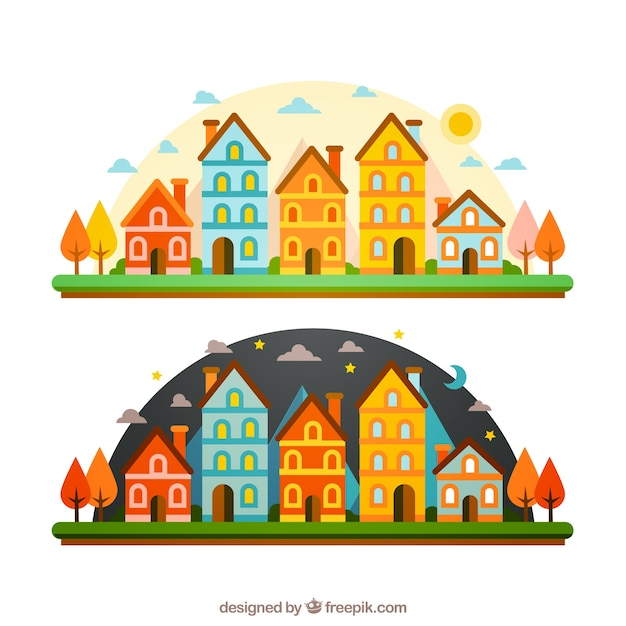 Colourful city in different moments of the day Premium Vector