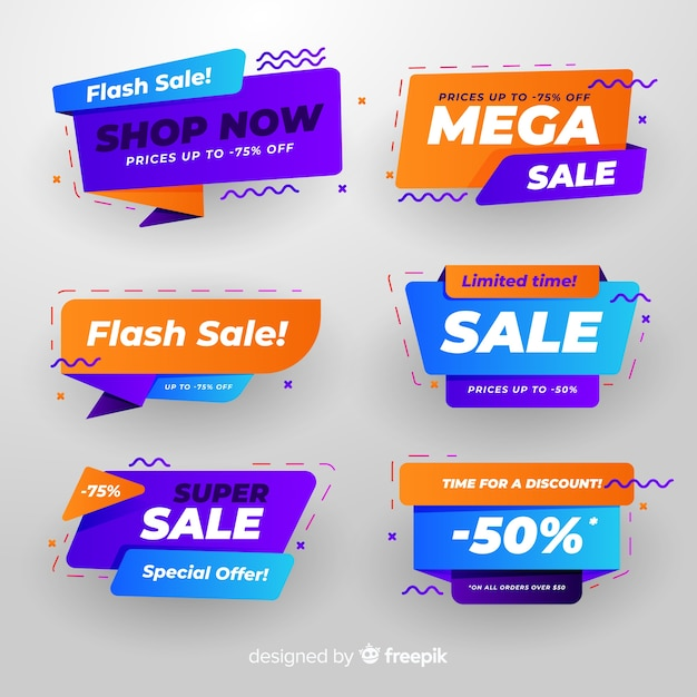 Colourful collection of abstract sale banners Free Vector