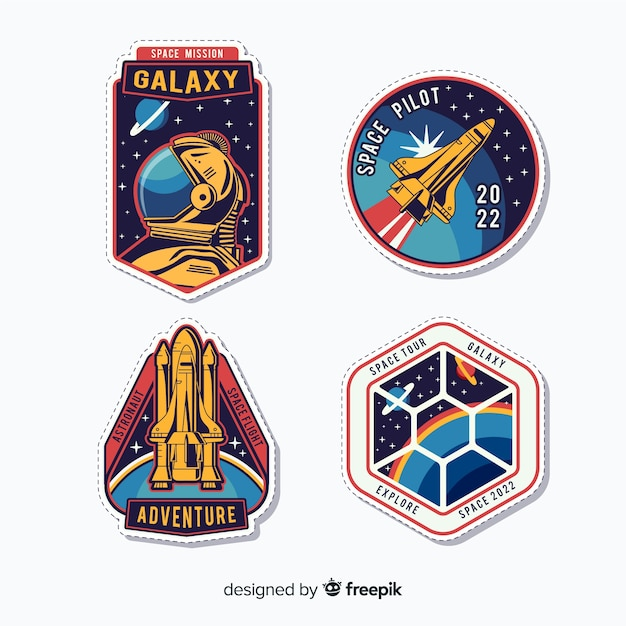 Colourful collection of modern space stickers Free Vector