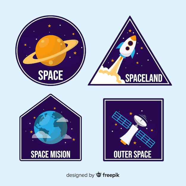 Colourful collection of space stickers Free Vector