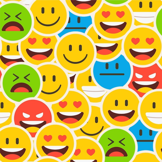 Colourful crowded smile emoticon pattern Premium Vector