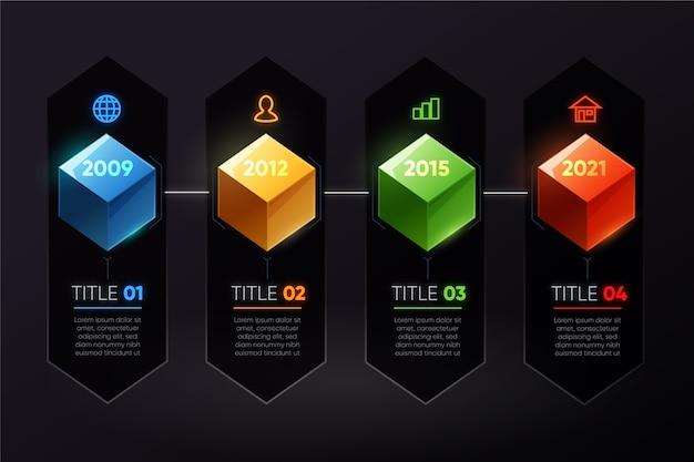 Timeline di cubi colorati infografica Vettore gratuito