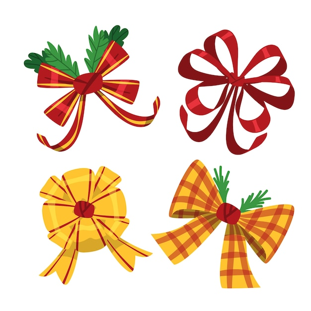 Colourful cute christmas ribbons and bows Free Vector