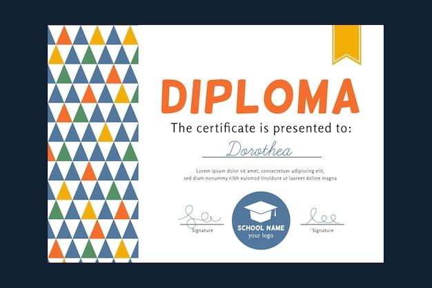 Modello di diploma colorato per bambini Vettore gratuito