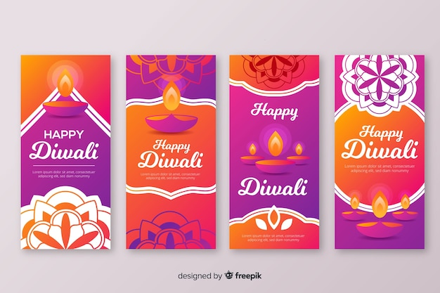 Colourful diwali instagram stories Free Vector