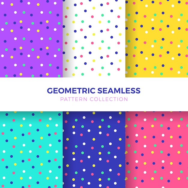 Colourful Dots Seamless Pattern Collection Free Vector