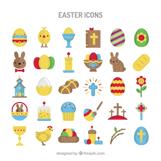 Colourful Easter icons Free Vector