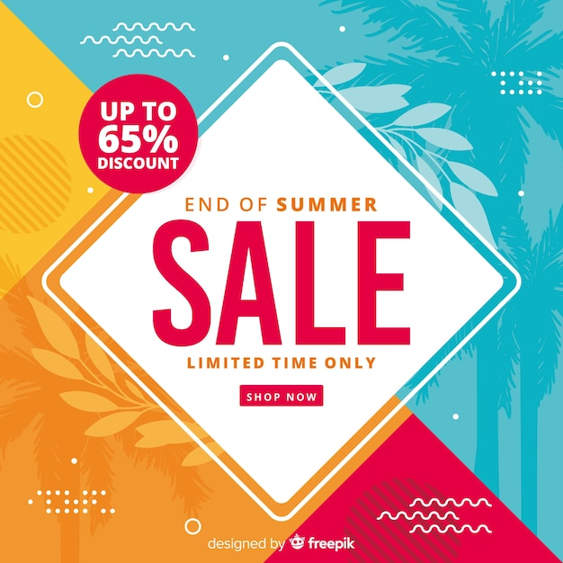 Colourful end of summer sales background Free Vector