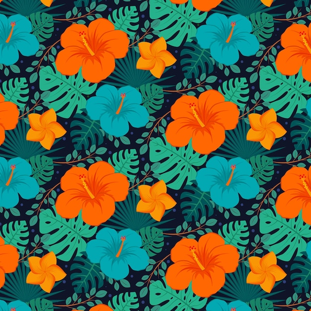 Colourful exotic floral pattern Free Vector
