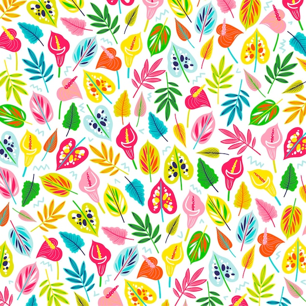 다채로운 이국적인 꽃과 나뭇잎 패턴 무료 벡터