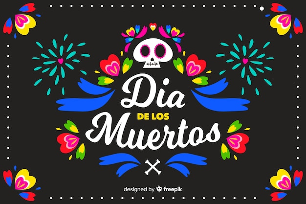 Colourful and fireworks flat día de muertos background Free Vector