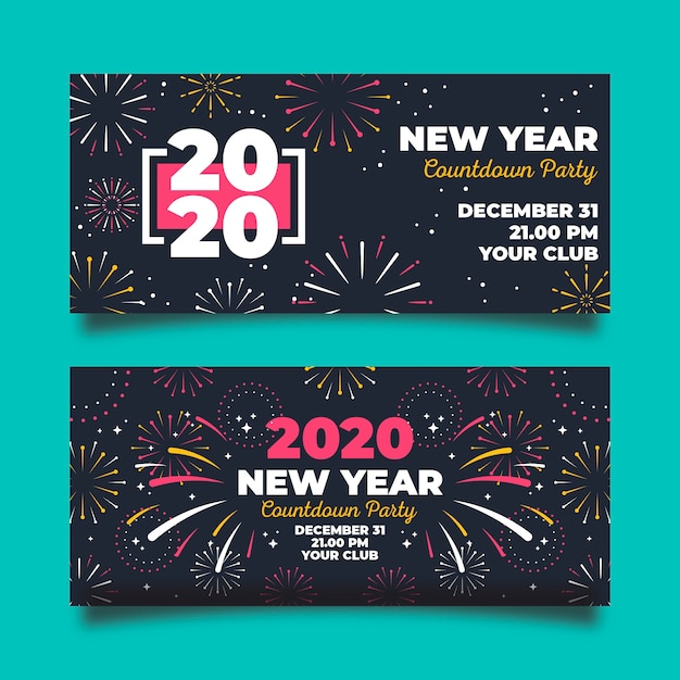 Colourful fireworks in the night new year 2020 banner Free Vector