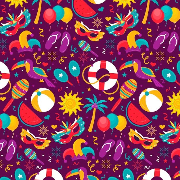 Colourful flat design brazilian carnival pattern Free Vector