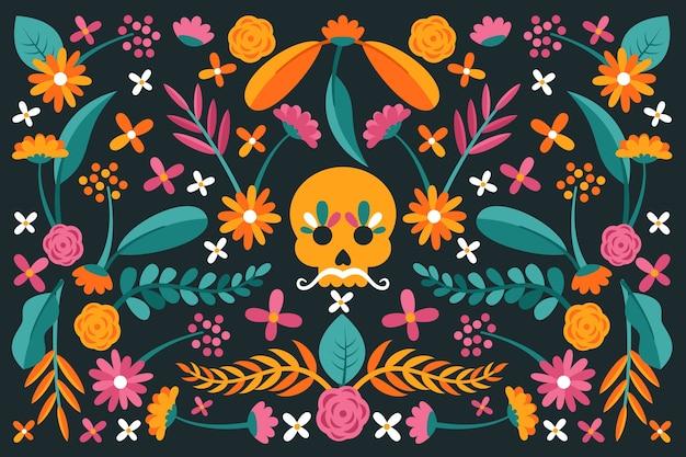 다채로운 평면 디자인 멕시코 배경 및 두개골 무료 벡터