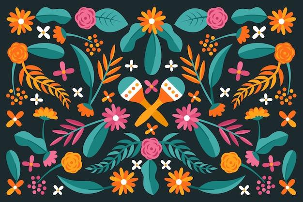 다채로운 평면 디자인 멕시코 배경 무료 벡터