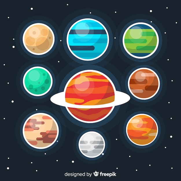 Colourful flat planet collection Free Vector