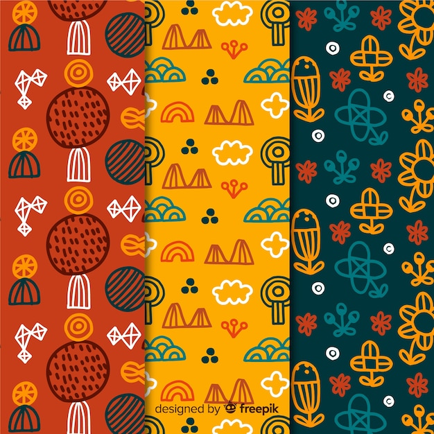 Colourful floral hand drawn pattern collection Free Vector