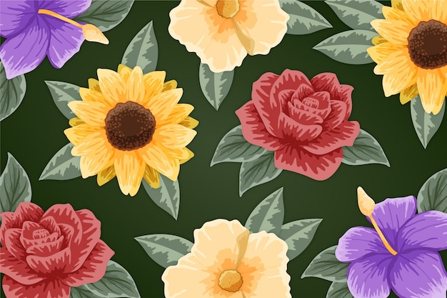Colourful flowers hand drawn painted Free Vector