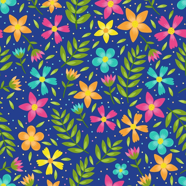 Colourful flowers and leaves floral seamless pattern Premium Vector