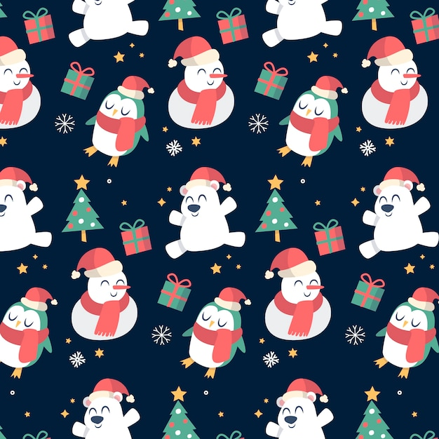 Colourful funny christmas pattern Free Vector