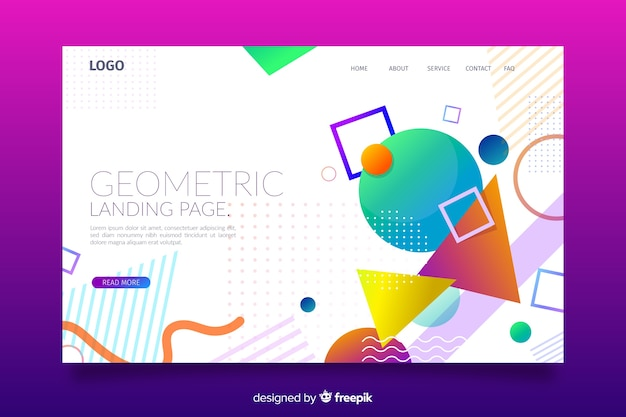 Colourful geometric shapes landing page Free Vector