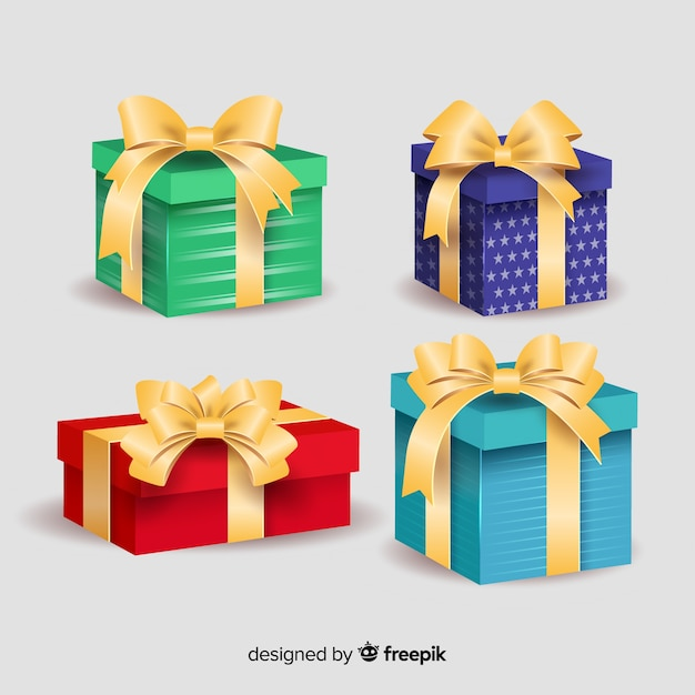 Colourful gift boxes with ribbon Free Vector