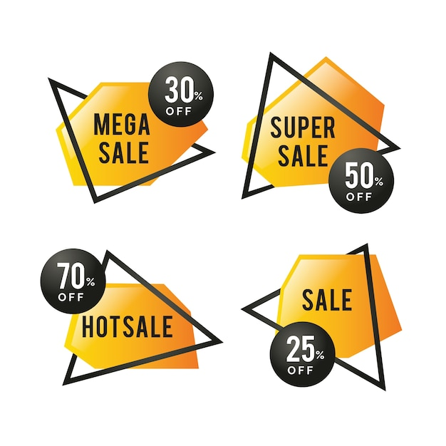 Colourful golden sale banners with frames Free Vector