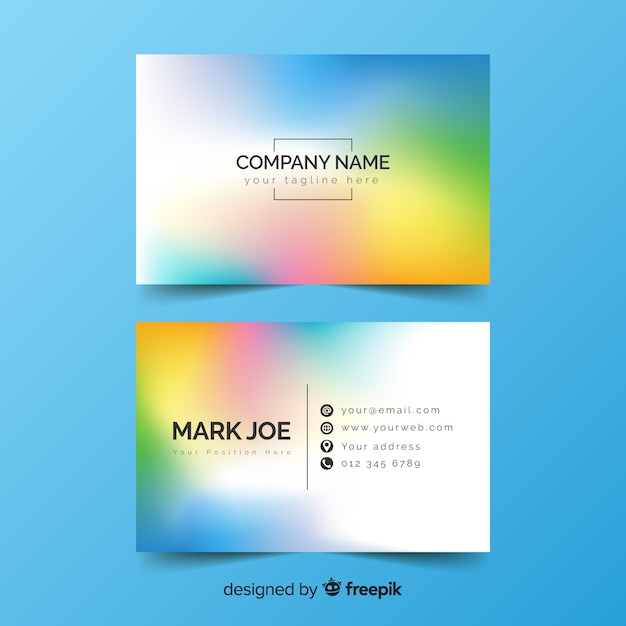 Colourful gradient business card design Free Vector