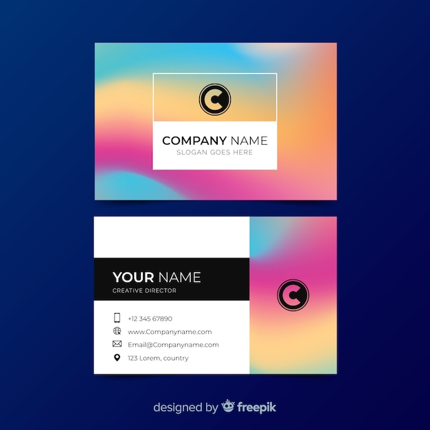 Colourful gradient business card template Free Vector