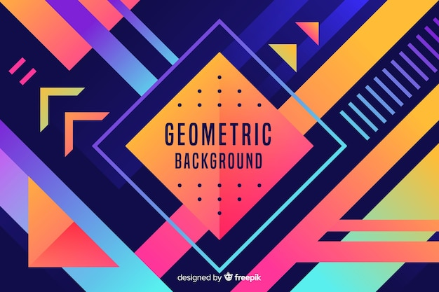 Colourful gradient geometric shapes background Free Vector
