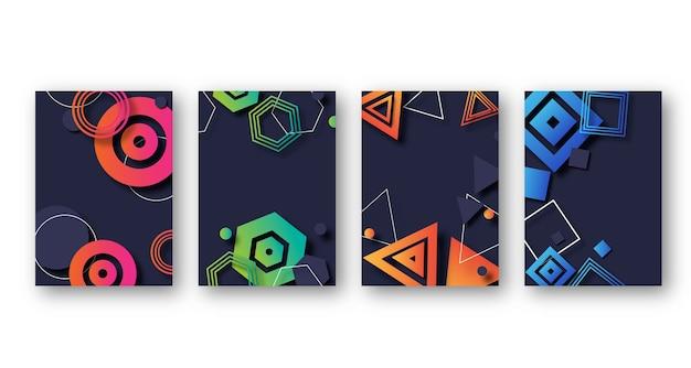 Красочные градиентные геометрические фигуры Бесплатные векторы