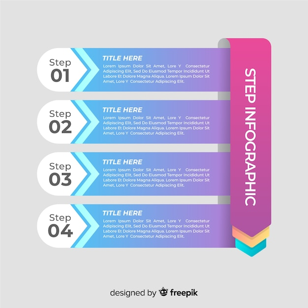 Colourful gradient infographic steps Free Vector