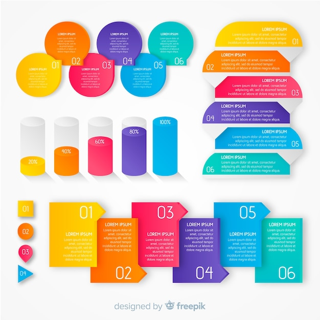 Colourful gradient infographic templates Free Vector