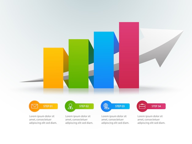 Colourful growth chart infographic with 4 options or steps and place for text Premium Vector