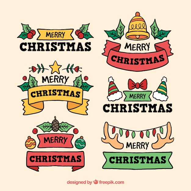 colourful hand drawn christmas stickers free vector