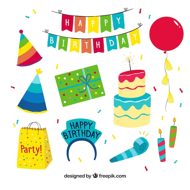 Colourful hand drawn collection of birthday party attributes Free Vector