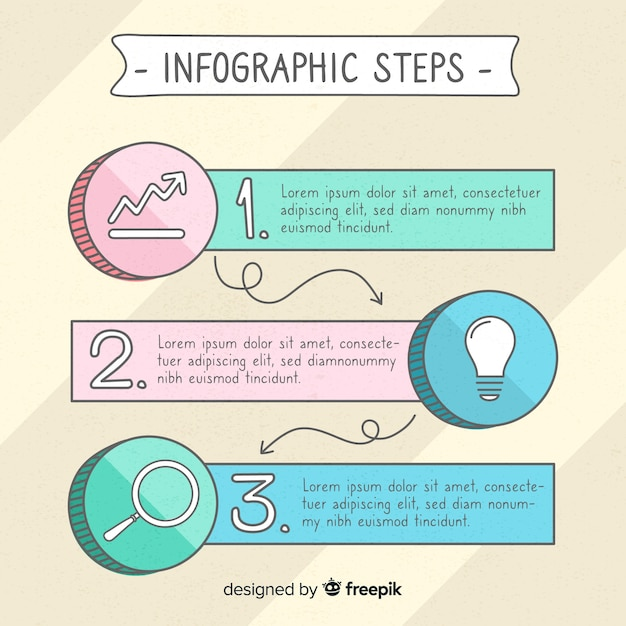 Colourful hand drawn infographic steps Free Vector