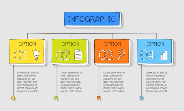 Colourful hand drawn infographic with 4 options and colourful text boxes Premium Vector