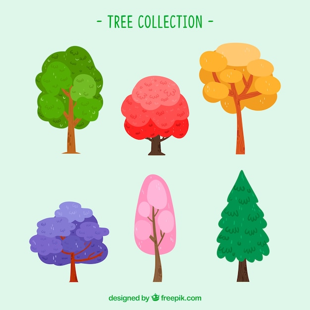 Colourful hand drawn tree collection Free Vector