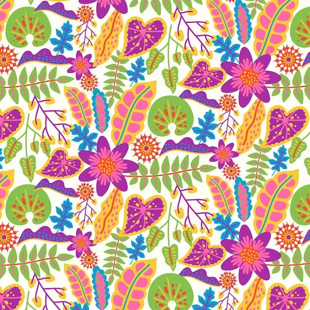 Motivo floreale esotico dipinto a mano colorato Vettore gratuito