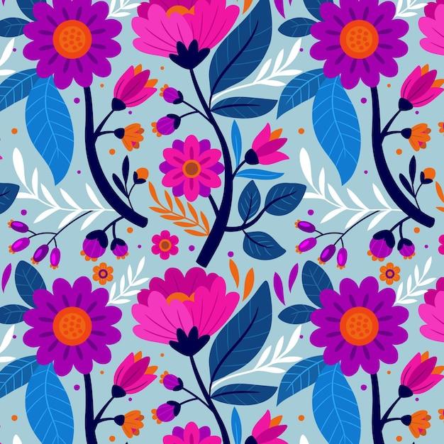 다채로운 손으로 그린 이국적인 꽃 패턴 무료 벡터