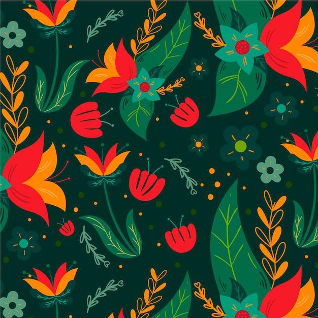 다채로운 손으로 그린 이국적인 꽃과 나뭇잎 패턴 무료 벡터