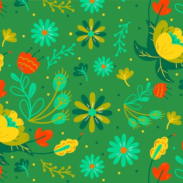 Красочная ручная роспись экзотических цветов и листьев Бесплатные векторы