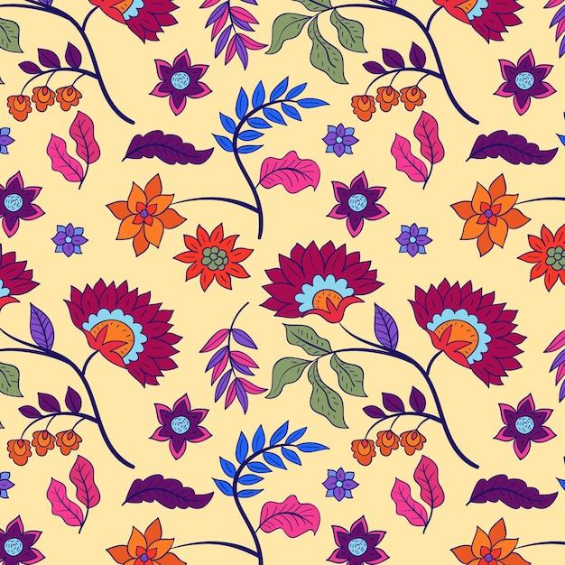 Красочный ручной росписью цветочный узор Бесплатные векторы