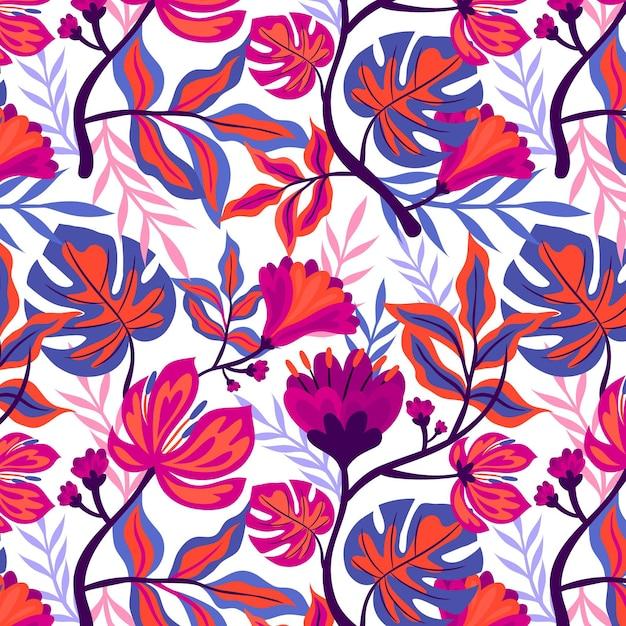 カラフルな手描きの熱帯の花柄 無料ベクター