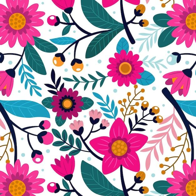 다채로운 손으로 그린 열대 꽃 패턴 무료 벡터